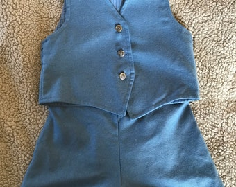 Blue Wool Vest and Shorts