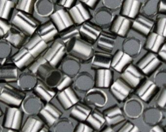 500 pcs rhodium plated crimp tube - 2x2mm