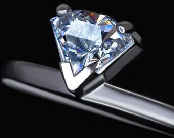 Oringo Pure Water Ring Swarovski Side View Cut Zirconia Sterling Silver 925