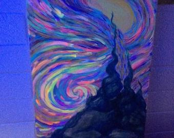 """original acrylic 15""""x30"""" painting - """"EMISSION"""" - uv reactive"""