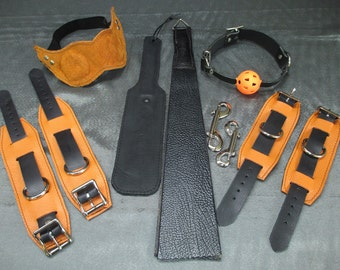Halloween Limited Edition Orange/Black Leather Restraint Cuffs, paddles, blinds and gag Set (Set C14)
