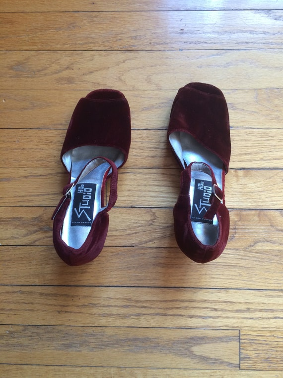 1990's Harvey vintage nos size 8 Janes Mary toe never worn 90's been sole Diane platform crushed block peep heel thick velvet drqfr6xZwT