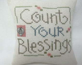 Count Your Blessings Cross Stitch Mini Pillow, Flowers, Heart Charm, Shelf Pillow