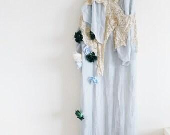 PERSEPHONE - cornflower blue pleats, antique lace and flower sprinkles