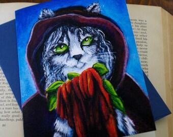 Witch Cat Greeting Card, Grey Silver Tabby Cat, Amaranthus Love Lies Bleeding
