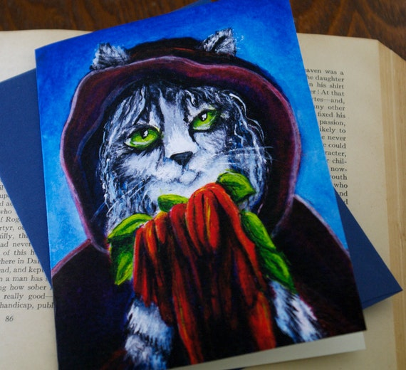 Witch Cat Greeting Card, Grey Silver Tabby Cat, Amaranthus Love Lies Bleeding