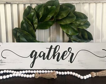 Gather Wood Sign | Distressed Sign | Gather | White Gather Sign | Gather Decor| Farmhouse Sign | Wood Gather Sign