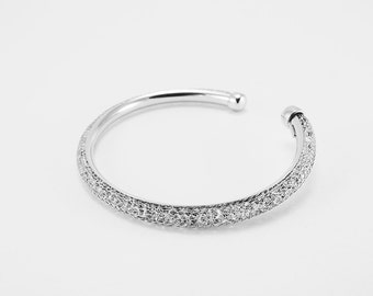 Sterling Silver White Bangle - 112SBNW