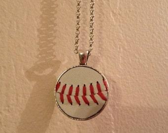 Round baseball necklace