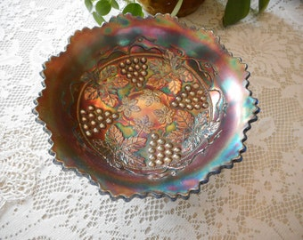 Vintage Fenton Grape and Cable Blue/Amethyst Iridescent Footed Bowl