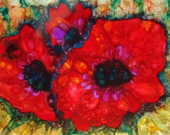 original art  painting alcohol ink red poppy design abstract wall decor 20x24