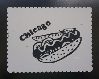 Chicago Style Hotdog - block printed postcard