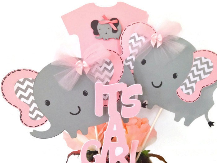 Pink And Gray Elephant Baby Shower Centerpiece Pink And Gray Baby