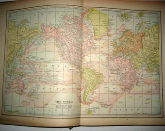 Antique  Map from 1891  New Popular Atlas of the World -  The World or Eastern and Western Hemispheres