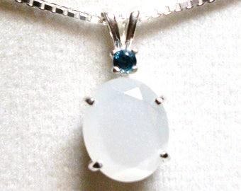 "Moonstone, moonstone pendant, accent pendant, multi stone pendant, white blue pendant, opalescence, ""White Opulence"""