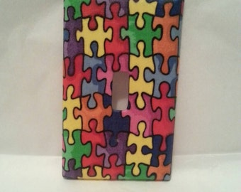 Puzzle Pieces Light Switch Plate Cover.  Decorative Arts.  Boys/Girls Bedroom.  Nursery Decor.  Wall Cover.  Electrical.  Electrical Covers.