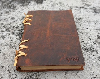 leather journal personalized leather journal leather notebook leather diary leather sketchbook free stamp free initials