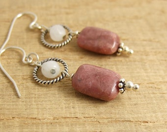 Earrings with Lapidolite and Moonstone Beads Wire Wrapped to Oxidized Loops and Sterling Silver Earring Wires CHE-361