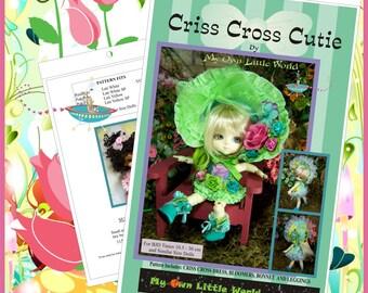 PDF Version - Criss Cross Cutie - PATTERN for BJD Tinies 10.5 - 26cm