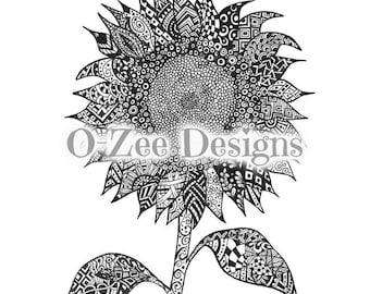 A4 Zentangle Inspired Art Sunflower Print hand drawn illustration