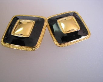 Black and Gold Earrings Clip On