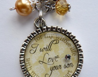 Mother of the Groom Necklace, I will love your son with my whole heart for my whole life, wedding gift mother in law beautiful quote