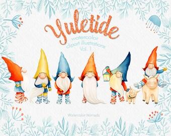 Scandinavian Christmas clipart, Gnome clipart, Yuletide, nordic, watercolor, Dala horse, pig, elk deer, winter, printable, scrapbooking