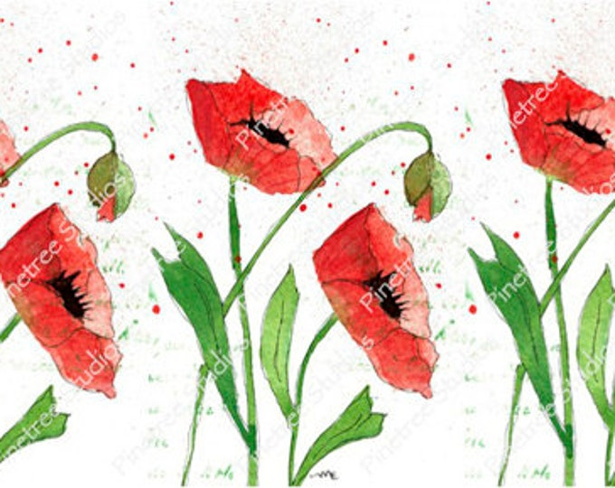 Painted Poppies ~ Sublimation Artwork for Mugs / Digital Download Only