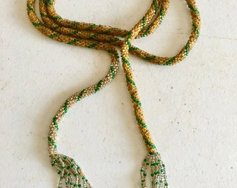 Vintage 1920's Deco Flapper Seed Beaded Rope Necklace Gold/Green Stripe 49""