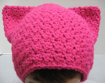 Handmade Crochet Pink Pussyhat, Acrylic yarn pussyhat, pussy hat, One size fits most, Cat hat, Protest hat,