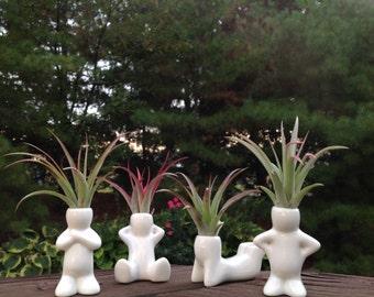 Air Plant Holder, Zen Men, Desktop Planter, Gift, boho decor, Indoor Plant, Mother gift