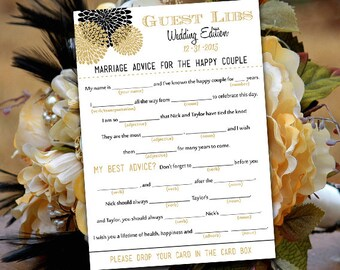 Wedding Mad Libs Wedding Game - Chrysanthemum Guest Libs Printable - Engagement Party Game - Wedding Guestbook Alternative - ANY Color