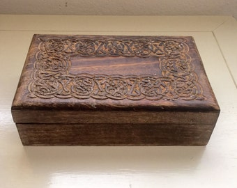 Jewelry Box, Wooden Jewelry Box, Vintage Box, Wooden Treasure Box, Carved Wood Box, Unique Gift, Solid Wood, Rustic Decor