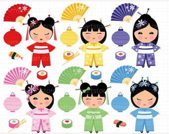 Vector Clipart - Kokeshi Dolls / Japanese / Chinese Princess, japanese doll, chinese doll, kokeshi doll, sushi clipart, clip art