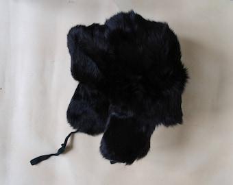 Soviet Kids 2Y - 3Y Ushanka Rabbit Fur Hat, Vintage Dark Brown Natural Rabbit Fur Cap, Lumberjack Hat Warm Winter Hat with Ear Flaps