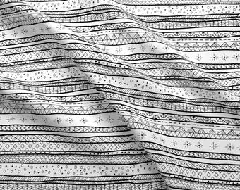 Abstract Tribal Stripe Fabric - Mudcloth Tribal Doodle Stripe Large By Littlepop - Black + White Cotton Fabric By The Yard With Spoonflower