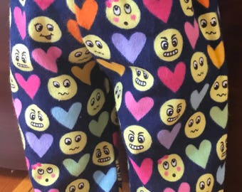 Doll Funny face PJ pants, flannel girl doll pants Doll clothes 18 inch doll pants, doll heart and face pants, American doll pajama pants