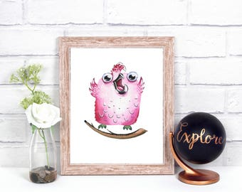 Watercolor bird, watercolor pink, wall art, kids room, nuresery decor