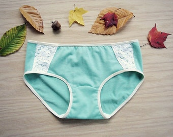 Organic cotton underwear in mint green with ivory lace, handmade lingerie, organic panties, hipster underwear