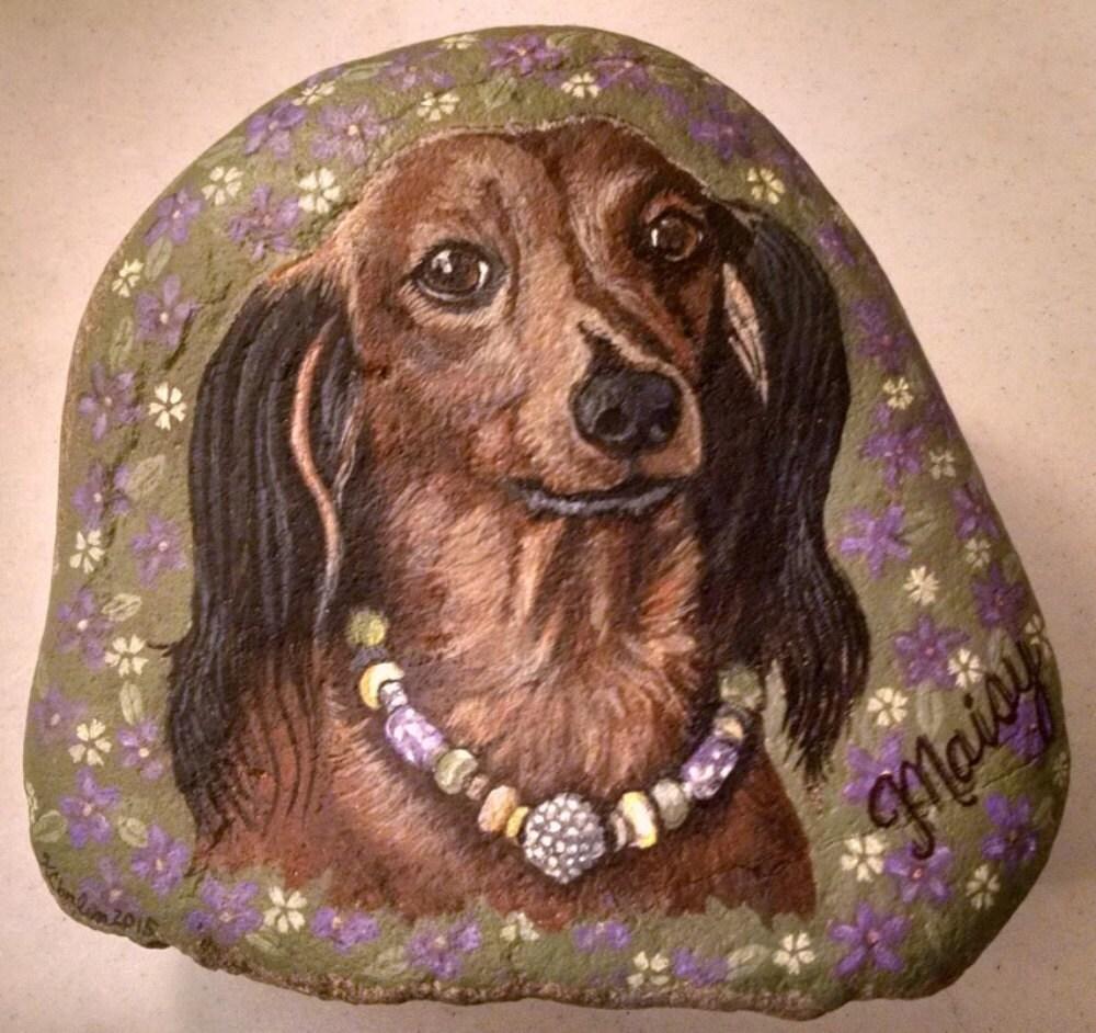 Hand Painted Dog Rock Medium 7x8 CobbledArt