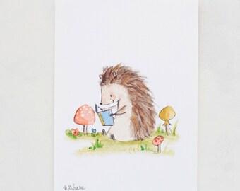 Forest nursery art, woodland art, Bookish Hedgehog, Giclée Print, Kit Chase artwork, 5x7, 8x10, 11x14