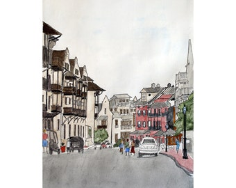 Fine Art Print Rosemary Beach Street Scene No 1  Pen and Ink and Watercolor 11 x 14