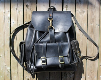 Black Horween Leather Backpack