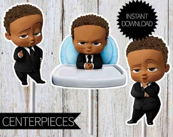 African American BOSS Baby- Curly Hair Birthday Party PRINTABLE Character Centerpieces- Instant Download |The Boss Baby Movie  | Toppers