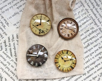 Clock Magnets Made From Glass Cabochon. Use on Refrigerators or Magnetic Noticeboards.