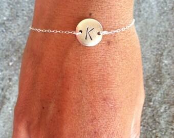Silver Bracelet, Initial Bracelet, Tiny bracelet, Monogram Bracelet, Couples Bracelet