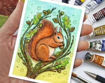 Mini Red Squirrel Print - ACEO size
