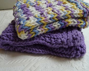 Purple Dish Cloths, Wash Cloths, Handmade Cloths, Spa Cloths, Set of Two, Housewares, Kitchen, Bath, House Warming, Gift Idea, Unique Cloths