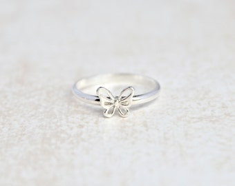 Butterfly Ring.  Sterling Silver butterfly jewelry.  Stacking rings.  Everyday wear ring.  Insect Ring.  3D butterfly ring.