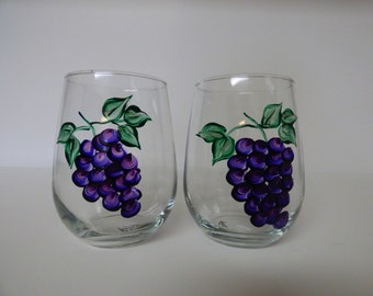 Hand Painted Grapes STEMLESS Wine Glasses-2
